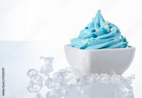 Tasty Colored Frozen Yogurt on White Bowl