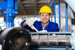 modern blue collar worker in factory