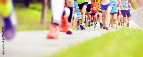 Obraz Unidentified marathon racers running - fototapety do salonu