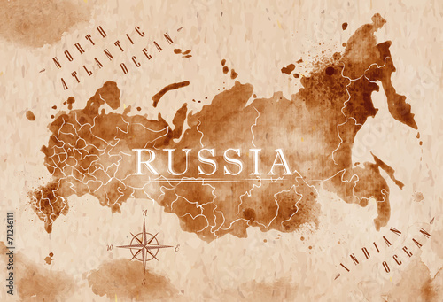 Map Russia retro Tablou Canvas