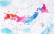 Watercolor map Japan pink blue