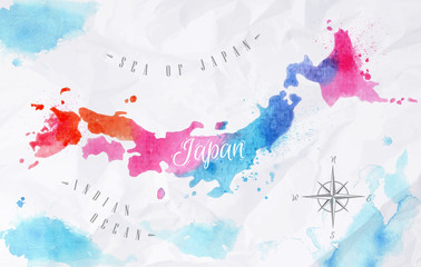 FototapetaWatercolor map Japan pink blue