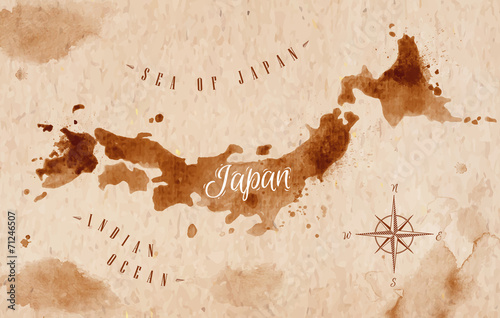 Fotomural  Mapa Japón retro