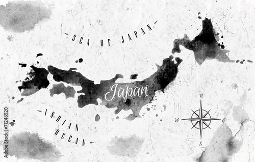 Cuadros en Lienzo  Ink Japan map