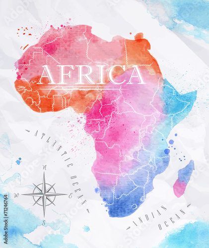 Obraz na plátně  Watercolor map Africa pink blue