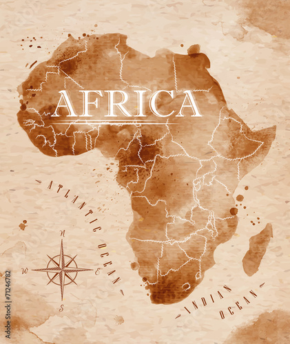 Photo  Map Africa retro
