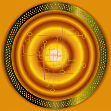 Technical Abstract Golden Circle Background Vector