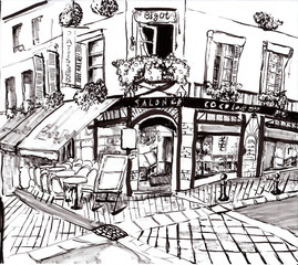 hand draw paris coffee shop