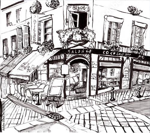 Photo  hand draw paris coffee shop