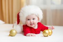 Funny Baby Girl Weared In Santa Hat