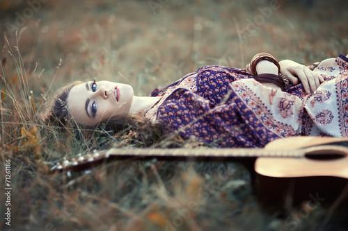 Fotografie, Obraz  hippie girl with guitar