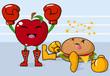 Apple vs burger, vector illustration