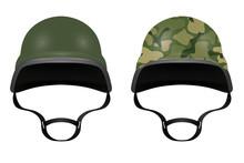 Military Helmets Isolated On White Background. Vector Illustrati