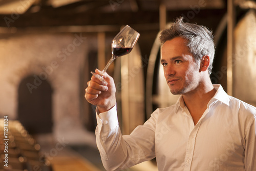 Fotografía  professional winemaker examining a glass of red wine in a tradit