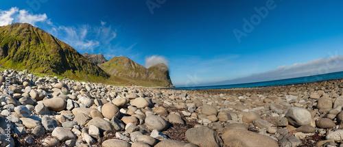 Staande foto Scandinavië Beach and mountains at Unstad, Lofoten Norway