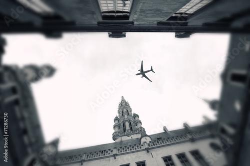 Foto op Canvas Brussel plane over the city of Brussels tilt - shift