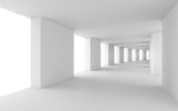 Fototapeta Perspektywa 3d - Abstract 3d background, empty bent white corridor