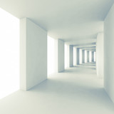 Fototapeta Perspektywa 3d - Abstract architecture 3d background, empty white corridor