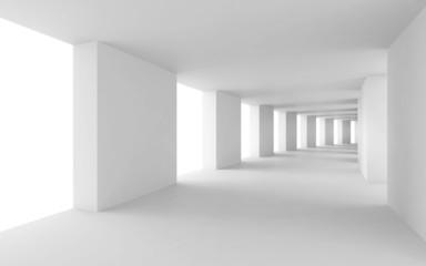 Fototapeta Abstract 3d background, empty bent white corridor