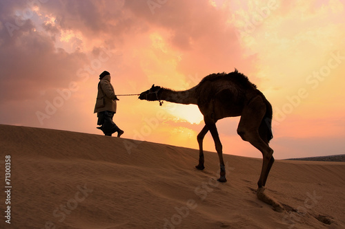 Photo Silhouetted bedouin walking with his camel at sunset, Thar deser