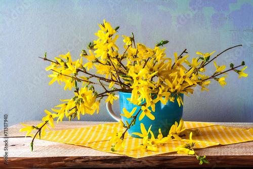 Fotografie, Obraz Still life spring bouquet yellow forsythia