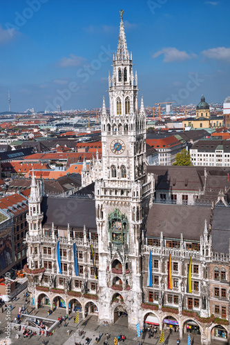 Fototapety, obrazy: Munchen with Marienplatz, New Town Hall in Germany