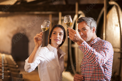 Fotografie, Obraz Couple tasting a glass of white wine in a traditional cellar sur