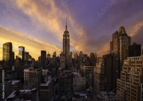 Sunset over Manhattan, New York