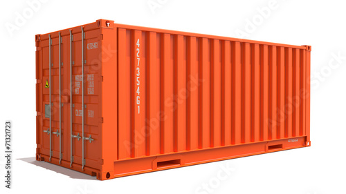Orange Cargo Container Isolated on White. Wallpaper Mural
