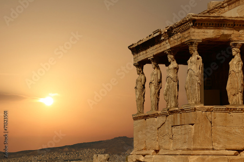 Caryatids on the Athenian Acropolis at sunset, Greece