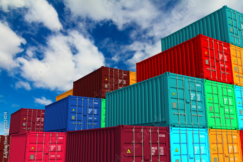 Photo Multitiered of Colorful Containers on Sky Background.