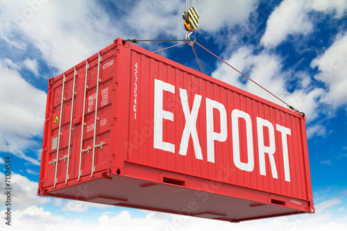 Canvas Print Export - Red Hanging Cargo Container.