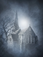Halloween Background With A Spooky And Ancient Church