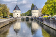 canvas print picture - Medieval Broel Towers and old bridge in Kortrijk city