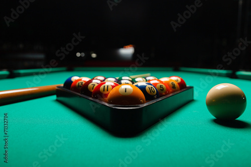 Canvas Billiard balls in a pool table.