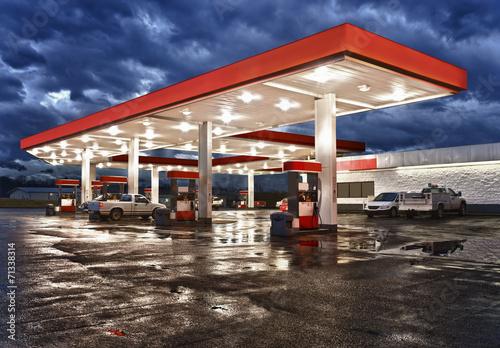 Fototapeta  Gas Station Convenience Store On Rainy Evening