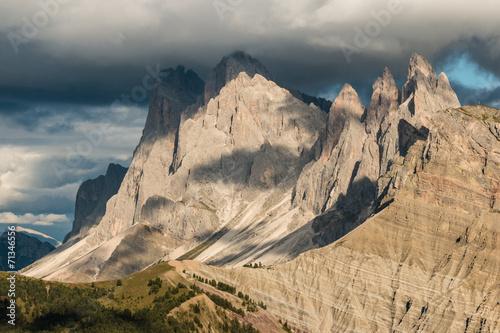 sunset over Geisler group mountains in Dolomites Wallpaper Mural