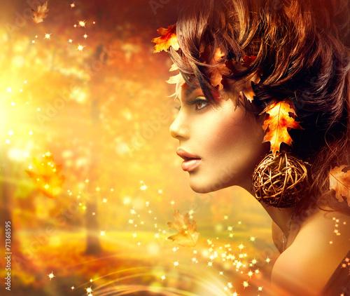 Poster - Autumn Woman Fantasy Fashion Portrait. Fall