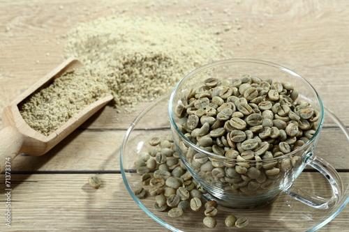 Fotografie, Obraz  caffe verde chicchi e polvere