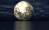 Fototapeta Fototapeta z niebem - 3D background with moon over sea