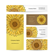 Set Of Creative Business Cards, Sunflower Design