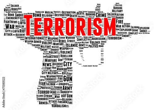 Fotografía  Terrorism word cloud shape