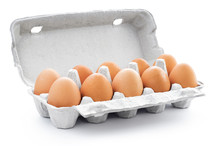 Ten Brown Eggs In A Carton Pac...