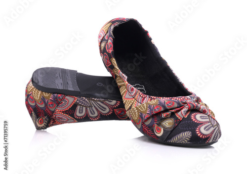 Photo  Flat comfortable shoes for women on white background