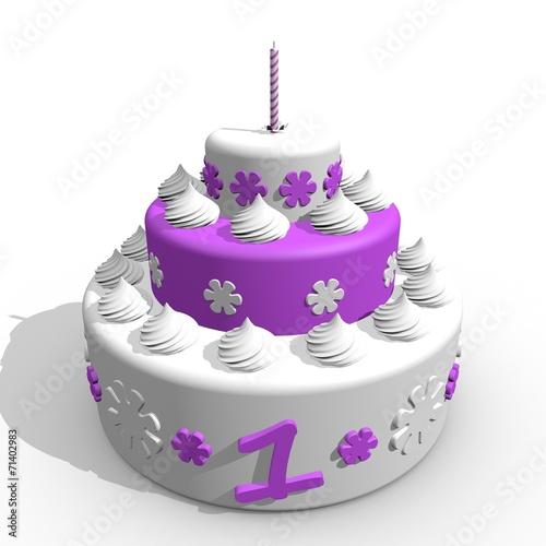 Verwonderlijk Eerste verjaardag slagroom taart voor baby meisje - Buy this stock JX-22