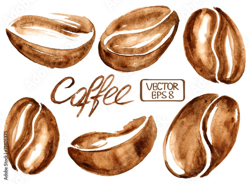 Fotografía  Granos de café de la acuarela iconos