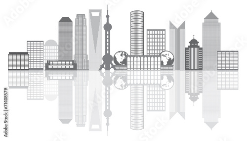 Photo  Shanghai City Skyline Grayscale Outline Vector Illustration