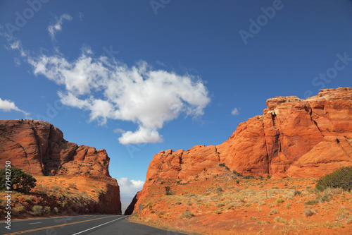 Poster Route 66 Magnificent road among red rocks