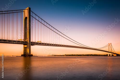 Printed kitchen splashbacks Brooklyn Bridge Verrazano-Narrows Bridge at sunset as viewed from Long Island