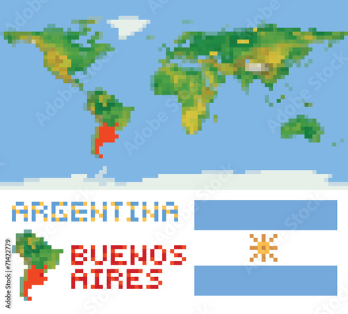 Argentina on physical world map, shape flag and capital ...